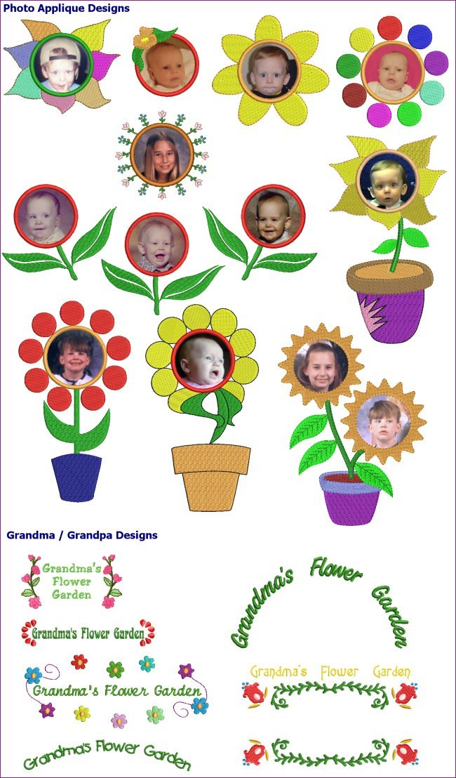 Grandma flower garden machine embroidery designs